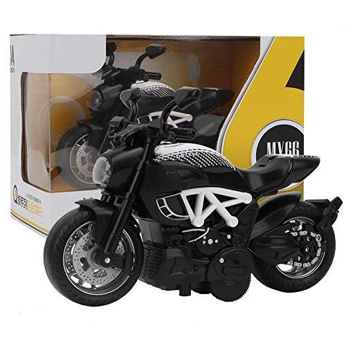 IGKE Hoch simuliertes Motorradspielzeug, Exquisite Verarbeitung Drop-Resistance Alloy Black, Weiß Schwarz Pull Back Motorcycle, für Kinder(White Black)