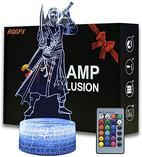 Roronoa Zoro 3D-LED-Nachtlicht, für Kinder, Schlafzimmer, Schreibtischlampen, Kinderzimmer-Dekoration, tolles Geschenk für Kleinkinder, Jungen, Kinder