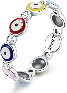 Sponsored Ad - Evil Eye Ring for Women Girls 925 Sterling Silver Blue Hamsa Evil Eye Enamel CZ Ring Dainty Turkish Greek C...