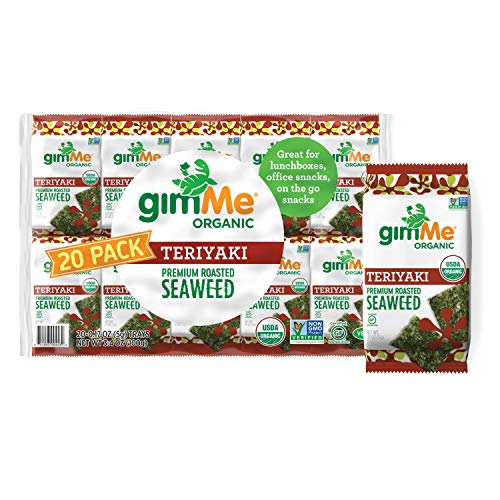 gimMe Organic Roasted Seaweed Sheets - Teriyaki - 20 Count - Keto, Vegan, Gluten Free - Great Source of Iodine and Omega 3's - Healthy On-The-Go Snack for Kids & Adults