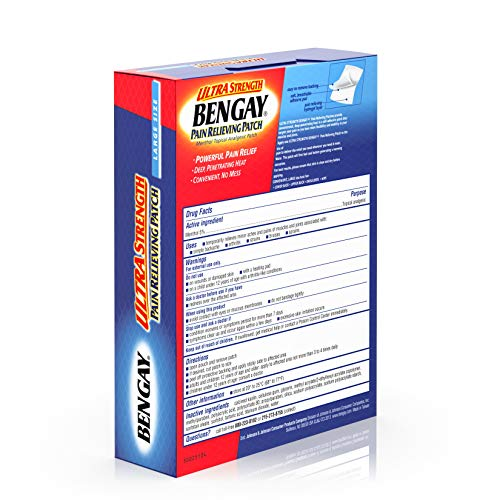 Ultra Strength Bengay Pain Relief Patch, Self-Adhesive, Large Size, 3.9 x 7.9 in., 4 ct