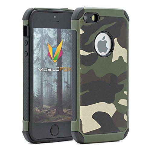 Mobilefox Camouflage Handy Schutzhülle Outdoor Case Army Cover für Apple iPhone 5/S/SE Grün