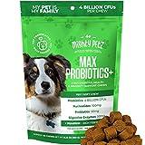 MAX 5-in-1 Probiotics for Dogs - 4 Billion CFUs per Chew + Prebiotics + Digestive Enzymes + Fiber. Occasional Diarrhea & Digestion Support. Immune System + Seasonal Allergies. Healthy Skin & Coat