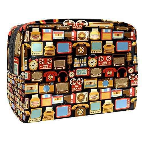Bolsa de Maquillaje de Viaje portátil,Vintage Retro gadgetsRadio Vinyl Player Reloj Despertador ,Bolsa de cosméticos para Mujeres,Bolsa organizadora de Maquillaje con Cremallera de Belleza