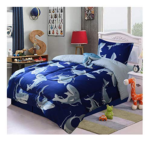All American Kids' Navy Blue Shark 3-Piece TwinComforter Set with Pillow Shamand Plush Shark Accent Pillow | Vivid SharkThemed Bedroom Set