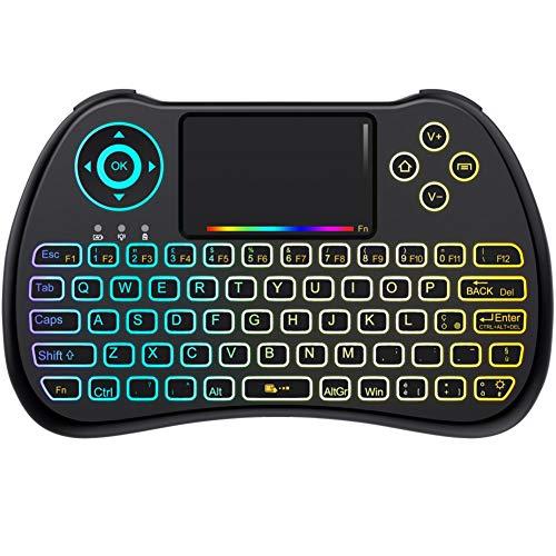 QPAU [Layout Italiano] Mini Tastiera Retroilluminata, 2.4Ghz Mini Tastiera Senza Fili Wireless con Touchpad per PC, Pad, Android/Google TV Box, PS3, X