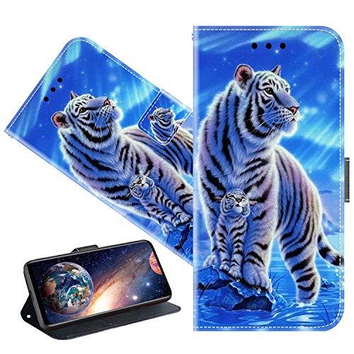 Cherfucome Funda para Huawei Nova 2 Plus Carcasa Libro Flip Case Magnético Funda de Cuero PU Carcasa Huawei Nova 2 Plus Funda Móvil Case Flip Leather Wallet [C04*Tigres]