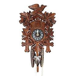 Sternreiter BIRD AND LEAF Model 1200 Black Forest Mechanical Cuckoo Clock, Linden Wood with Half and Full Hour Strike