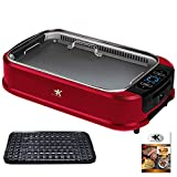 KCZAZY Electric Smokeless Grill with Glass Lid, Indoor and Outdoor Use, Grill and Griddle Plates Removable, Portable BBQ Grilling & Searing, Dishwasher Safe, Included Cookbook, Gift Box (Exclusive)