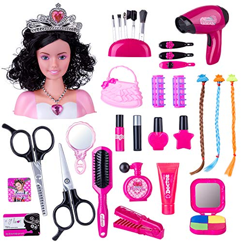 HYMAN Schmink Frisierköpfe Spielzeug, 37 St. Kinder Rollenspiele Puppe Styling Kopf Spielzeug mit Fön