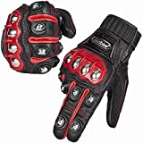 ILM Alloy Steel Leather Hard Knuckle Touchscreen Motorcycle Bicycle Motorbike Powersports Racing Gloves (L, (LEATHER) RED)