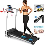 ANCHEER Folding Treadmill, Electric Running Machine with LCD Screen, Portable Fitness Treadmill for Home, Office, Gym, Indoor Walking Jogging Exercise Machine, Orange