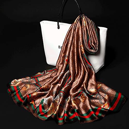 MINMINA Damen Schals Neue Schals Neue koreanische Version des Seidentuches Ms. Satin Langen Schal Wild Sonnencreme Schal Multifunktionstuch Strandtuch 180 * 140cm, Champagner