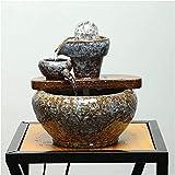 Wghz Zen Fuente de Agua de Mesa de Interior en Cascada de cerámica para Mesa Escritorio Oficina relajación en el hogar decoración Feng Shui humidificador de Acuario 22 * 24 cm