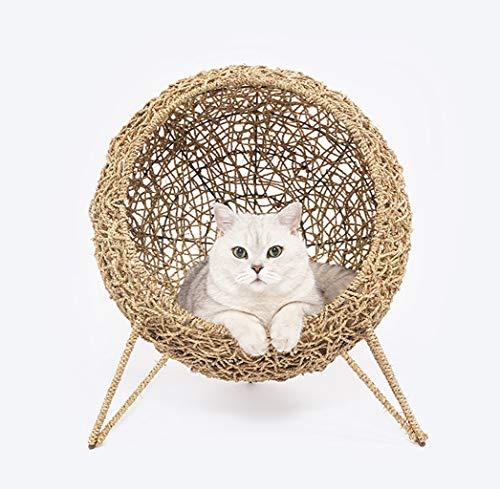 JYZT Umweltschutz Hundehütte Katzennest Rattan Weben Vier Jahreszeiten Universal Cat Klettergerüst Hundebett Katzenbett Webklasse Haustierzubehör 60 * 45 * 60CM