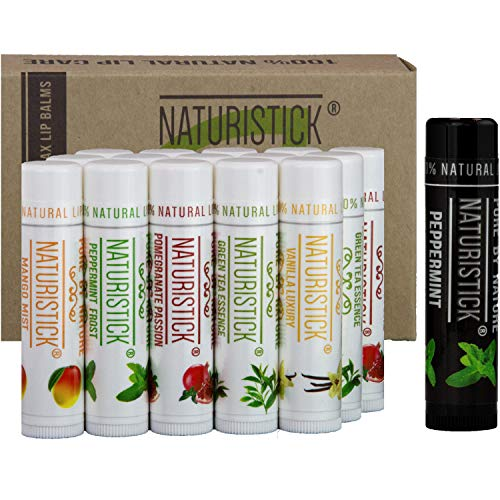 16-Pack Lip Balm Gift Set by Naturistick. Assorted Flavors. 100% Natural Ingredients. Best Beeswax Chapsticks for Dry, Chapped Lips. Made in USA for Men, Women and Children