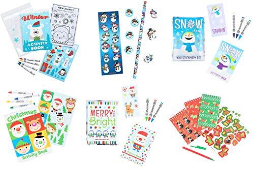 Christmas Holidays Winter Stationary Activity Sets - 6 Sets, 30+ Pieces - Activity Books, Crayons, Stickers, Notebooks, more! - Party Favors for Classroom, Stocking Stuffers, Prizes Children Bundle