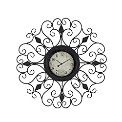 Deco 79 Rustic Metal Scrollwork Wall Clock, 36 D x 2 W, Black, Distressed White