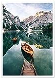 Panorama Poster Lac de Braies Italie 70 x 50 cm | Imprimée sur Poster de Grande qualité avec Passepartout | Tableau Nature | Poster Zen Art | Moderne Art pour la Maison | Décoration Murale