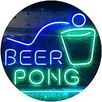 Beer Pong Bar Game Pub Dual Color LED看板 ネオンプレート サイン 標識 緑色 + 青色 600 x 400mm st6s64-i3495-gb