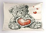 Nursery Sofa Car Fundas de Colchón Detailed Teddy Bear Drawing with Heart Instead of a Belly Mini Floating Hearts Decorative Standard Queen Size Printed Funda de Almohada 26 X 20 Inches Ivory Black