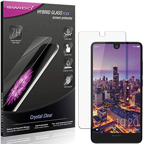 SWIDO Panzerglas Schutzfolie kompatibel mit Sharp Aquos C10 Bildschirmschutz-Folie & Glas = biegsames HYBRIDGLAS, splitterfrei, Anti-Fingerprint KLAR - HD-Clear