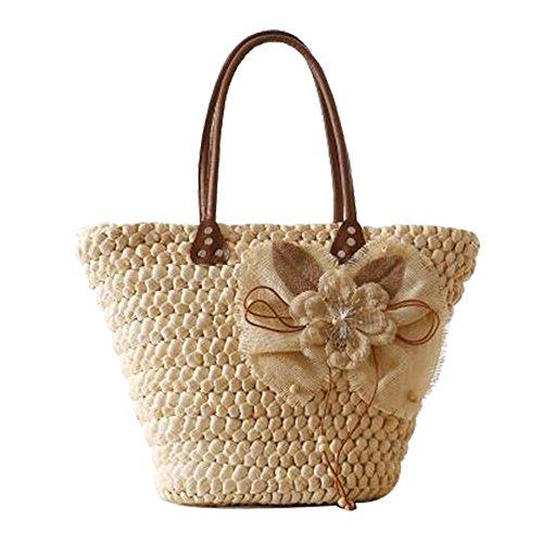 FAIRYSAN paja de las mujeres bolsa de tejido de las señoras de asas de la flor de la boda la cesta Bolsa de la compra Bolsa de Playa Blanca