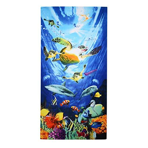 GEEZY Toalla de baño grande de microfibra ligera para deportes, viajes, gimnasio, verano (tortugas oceánicas)
