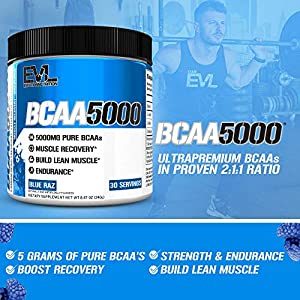 Evlution Nutrition BCAA5000 Powder 5 Grams of Branched Chain Amino Acids (BCAAs) Essential for Performance, Recovery, Endurance, Muscle Building, Keto Friendly, Zero Sugar, 30 Servings (Blue Raz)