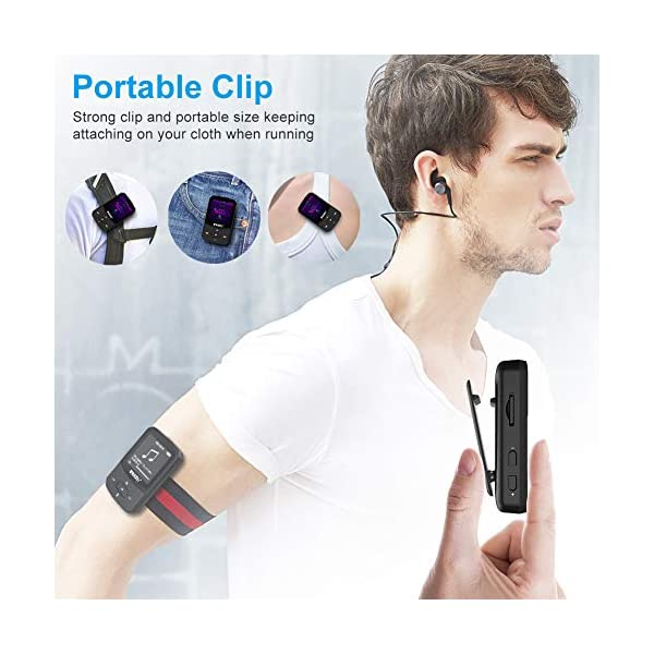 Clip Mp3 Player with Bluetooth 4.1 8GB Lossless Sound Music Palyer with FM Radio Voice Recorder Video Earphones for Running,Support up to 128GB 5