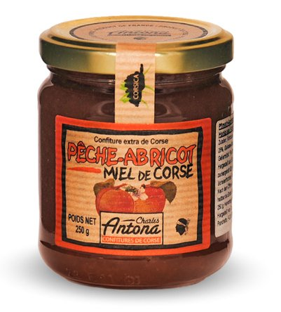 Charles Antona - Konfitüre Pfirsich-Aprikose mit korsischem Honig (Pêche-Apricot et Miel de Corse) 250 g