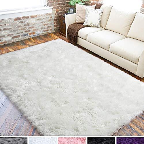 LOCHAS Ultra Soft Fluffy Rugs Faux Fur Sheepskin Area Rug for Bedroom Bedside Living Room Carpet Nursery Washable Floor Mat, 4x6 Feet White