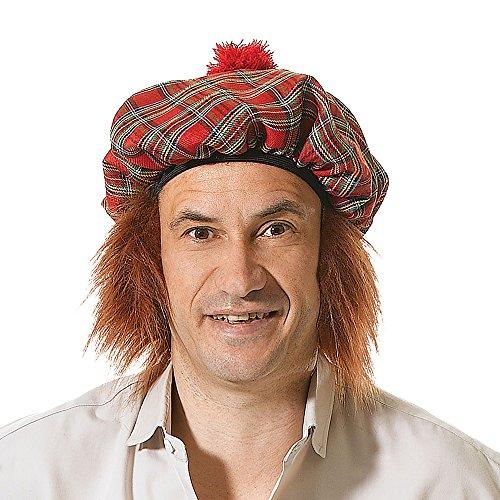 écossais Chapeau Tartan/Gingembre Cheveux chapeau pour Écossais Écosse Hogmanay Chapeau Déguisement
