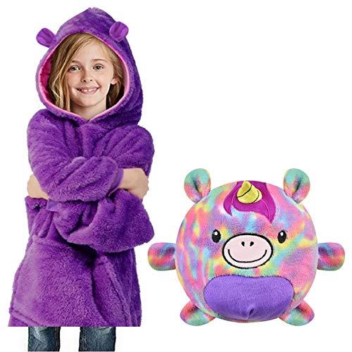 UMIPUBO Sudadera con capucha para niños y niñas, 2 en 1, con diseño de animales, para mantener el calor en el invierno, acogedora, de felpa Lila 1 talla única