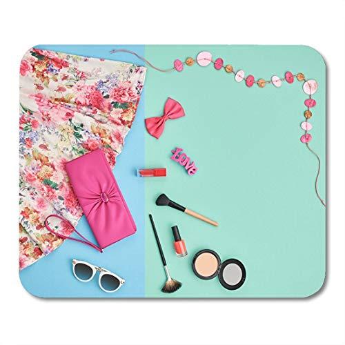Mauspad Sommer Mädchen Zubehör Frau Essentials Kosmetik Make-up Handtasche Clutch Blumenkleid Halskette Sonnenbrille Bürobedarf Mauspad Zoll Zoll Mousepad