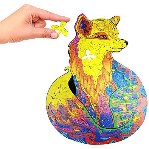 TANGX Holzpuzzle, verführerisches Fuchs-Puzzle 95 einzigartige Form-Puzzleteile, Erwachsene und Kinder Bunter Fuchs, 8,27 x 5,83 x 0,20