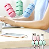 2Pcs Desktop Organizer Winder, Silicone Cable Winder Desktop Wire Organizer, Earphone Cable Holder Clip Mouse Cord Protector Management for Organizing Cable Wires-Home, Office, Car (Green)