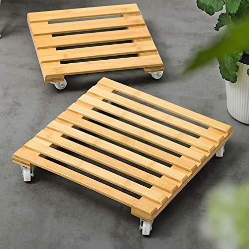 2-Pack Plant Caddy Bois Roues De Stand,Lourds Carré Bois Plant Caddy,Verrouillable Patio Extérieur Rouleau Pot De Fleur B 2 Pièces 30x30cm(11.8x11.8inch)