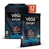 Vega Sport Premium Protein Powder, Chocolate, Plant Based Protein Powder for Post Workout - Certified Vegan, Vegetarian, Keto-Friendly, Gluten Free, Dairy Free, BCAA Amino Acid (Single Serve 12 Count)