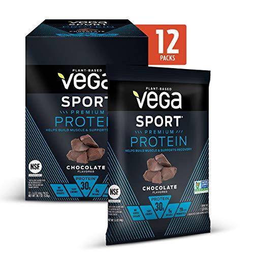 Vega Sport Premium Protein Powder, Chocolate, Plant Based Protein Powder for Post Workout - Certified Vegan, Vegetarian, Keto-Friendly, Gluten Free, Dairy Free, BCAA Amino Acid (Single Serve 12 Count)