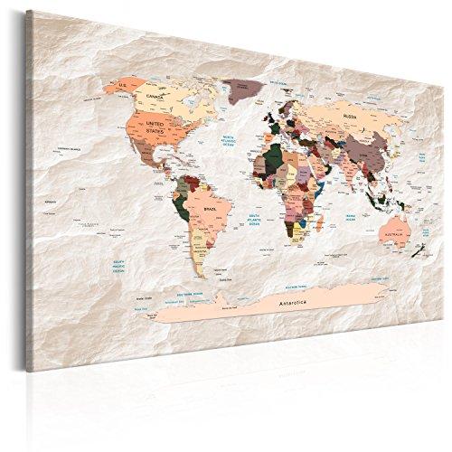 murando Tablero De Corcho & Cuadro en Lienzo 120x80 cm No Tejido XXL Estampado Memoboard Decoración De Pared Impresión Artística Fotografía Gráfica Poster Mapamundi Mapa del mundok-C-0053-