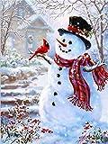 ZUIAIIUYA Pintar por Numeros Adultos Niños DIY Pintura por Números con Pinceles Y Pinturas,Regalos De Decoración del Hogar-Monigote De Nieve(16 * 20 Pulgadas, Sin Marco)