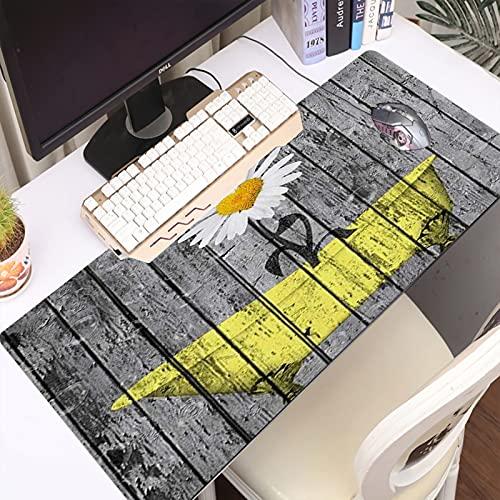 FAQIMEI Alfombrilla Gaming para PC Flor Floral en la bañera Amarilla Obra en Paneles de tablones de Madera rústicos de Madera Máxima Precisión con Base de Caucho Natural, Máxima Comodidad
