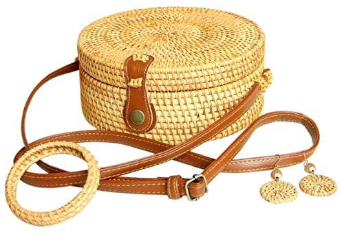 Mahajoy - Bolso de mano redondo de mimbre para mujer con pendientes de paja, pulsera de madera, bolso cruzado para la playa, bolso bandolera, bolsa de hombro, correa para mujer