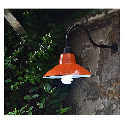 Außen Wandleuchte,Industrie Vintage Wandlampe Wasserdicht IP45 Antik Wandlichter mit Orange Emaille Lampenschirm E27 Edison Außenlampe für Hof Garten Fassade Terrasse Flur Vintage Wandbel.