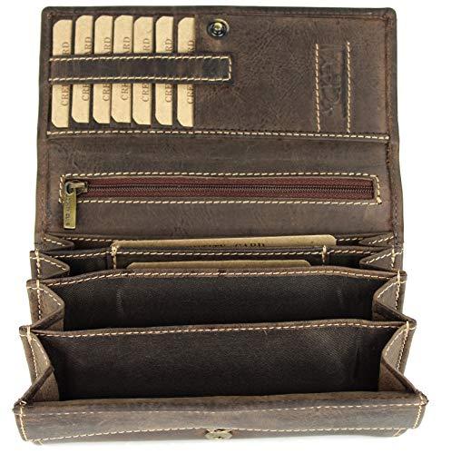BELLI hochwertige Vintage Leder Damen Geldbörse Portemonnaie langes großes Portmonee Geldbeutel langes Portmonee aus weichem Leder - 17,5x10x4cm (B x H x T) (Braun)