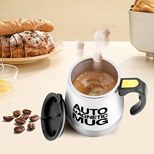 Selbstumrührende Tasse, Edelstahl Thermo-Kaffeebecher, Lazy Kaffeetasse, Magnetisches automatisches Rühren, kreatives Geschenk, Weiß