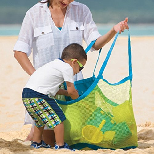 ILLUMINET Large Mesh Toy Bag: Beach Tote, Mesh Beach Toy Bag, Mesh Bag Swimming Gear, Toy Bag, Swimming Bag, Sand Bag to Carry Your Beach Towel and All Your Beach Gear - Green