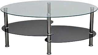 Jeerbly Tavolino rettangolare in vetro nero moderno tavolino da salotto per soggiorno tavolino da caff/è trasparente