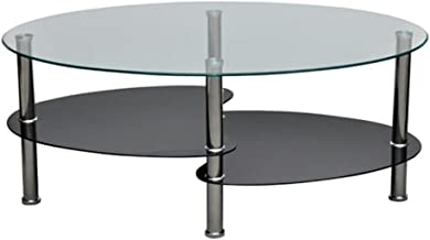 Modern High Gloss Glass Top Coffee Table Side Dinner Office Bedside 3 Tier Black